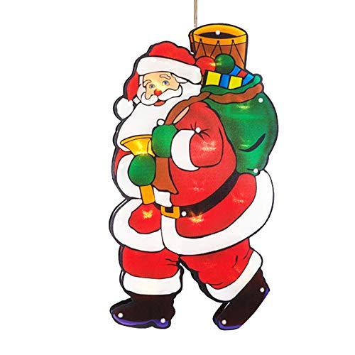 Redsa Weihnachts-Fensterlichter, LED-Weihnachtsbeleuchtung mit Saugnapf, Fenster-Hängelampe für den Innenbereich, Zuhause, Garten, Party, Weihnachtsbaum-Dekoration