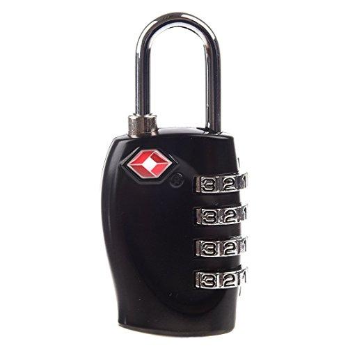 SODIAL(TM) Lucchetto TSA 4 combinazione per valigia baggagli nero