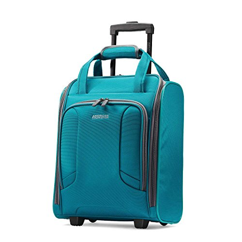 American Tourister 4 Kix Expandable Softside Luggage with Spinner Wheels, Teal, Underseater