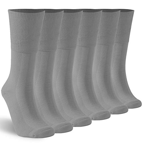 KitNSox Loose Socks for Swollen Feet Men Women Physical Circulation Elastic Top Lightweight Cotton Dress Diabetic Socks 6 Pairs Gray L