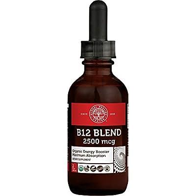 Global Healing Center Vegansafe B12, 2500 mcg Organic Sublingual Liquid Vitamin B12 Drops   2-in-1 Methylcobalamin & Adenosylcobalamin Blend for Energy, Mood, and Heart Health, 60-Day Supply (2 Fl Oz)