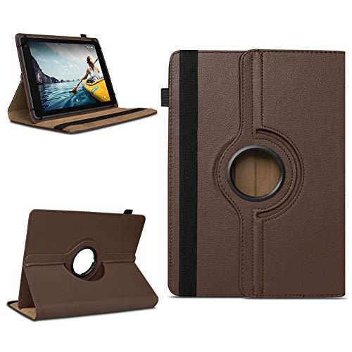 NAUC Tablettasche kompatibel für Medion Lifetab E10714 E10430 E10414 E10604 E10412 E10511 E10513 Tablet Tasche Hülle Universal Schutzhülle Drehbar, Farben:Braun