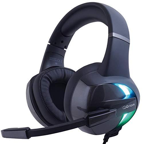 山善 ゲーミング ヘッドセット 有線 高音質 3.5mm USB 50mmドライバー 120度上下可動マイク (PS4 / Switch/Xbox/PC/スマホ 対応) 軽量 虹色LEDライト搭載 QGH-H15