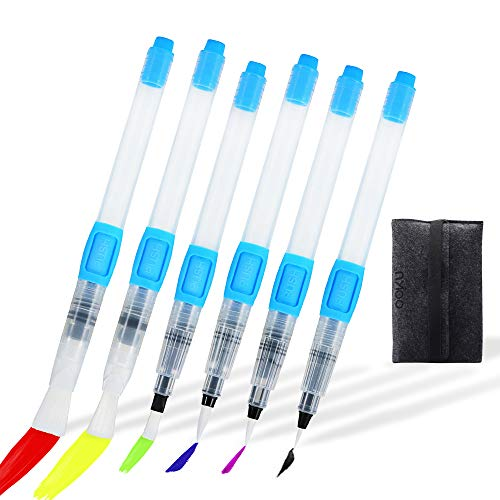 OOKU Watercolor Brush Pens- 6 Pc Professional Watercolor Pens With Push Button to Control Flow Speed, Self-Moistening Water Brush Pen | Used for Painting, Lettering, Coloring Water Color Brush