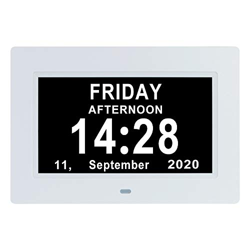 7 Inch Extra Large Day Date Time Digital Day Calendar Clocks with Auto-Dimming 12 Alarm Reminders Dementia Clock for Senior Elderly impaired Vision Memory Loss