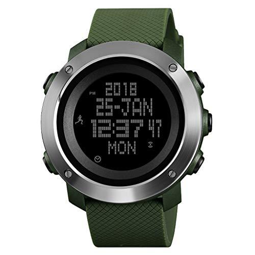 Armbanduhren Elektronische Multifunktions-Sportuhr, Wasserdicht Mit SchrittzäHler-Kompass-Metronom-Digital-Outdoor-Herrenuhr - Mehrfarbig Casual