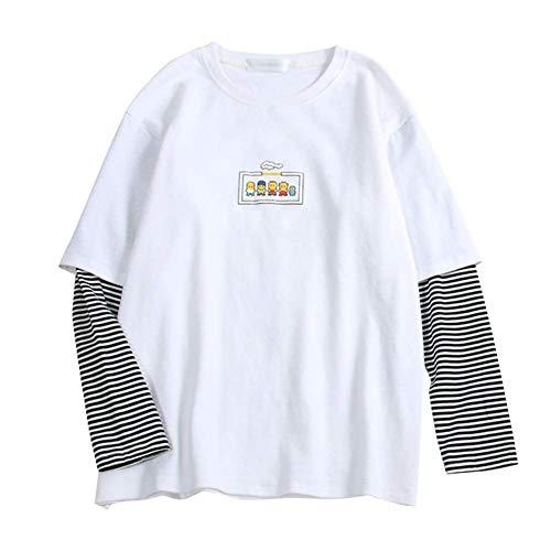 Tangzhan Damen Basic T-Shirt, langärmelig, Rundkragen, Student Top für Herbst, weiß, XL