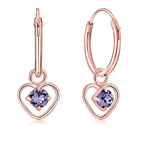 DTPsilver 925 Sterling Silver Rose Gold Plated SMALL Hoops Earrings & Dangling Heart with 3 mm Crystals from Swarovski Elements - Thickness 1.2 mm - Diameter: 12 mm - Colour : Tanzanite
