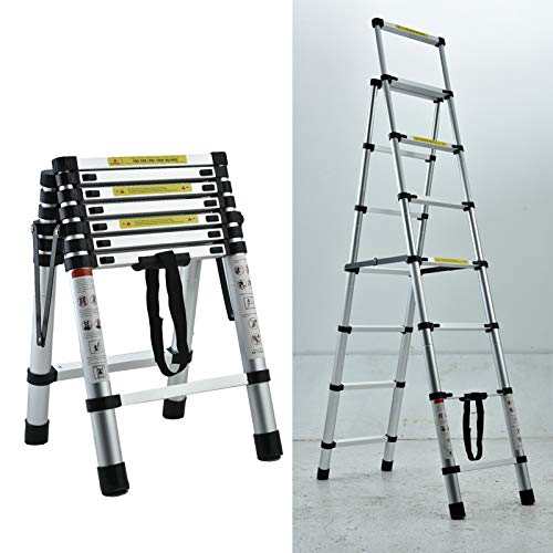 Aluminium Ladders Telescoping Dual-Use Herringbone Ladder, Multifunctional Extension Ladder Home Folding Ladder 2m + 2.3m Step Ladder Portable for Indoor or Outdoor Project