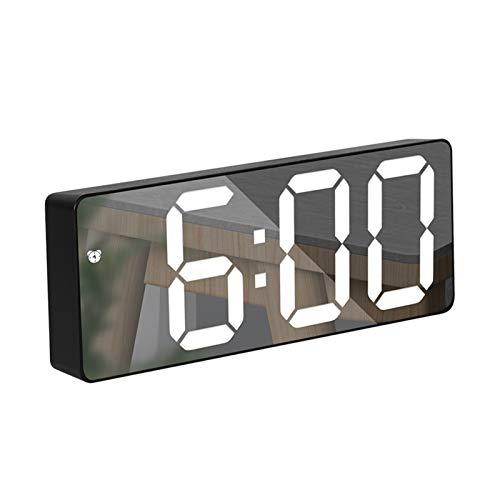 QWSX Reloj Espejo/Reloj de Alarma acrílico LED Reloj Digital Control de Voz Snooze Tiempo Tiempo Temperatura Modo de Noche Preciso y Duradero (Color : White Mirror Rec)