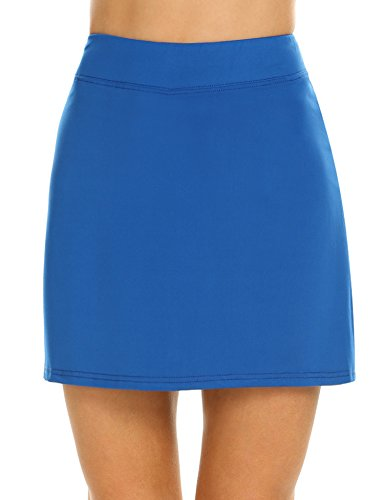 Ekouaer Golf Skorts for Women A Line Basic Versatile Stretchy Active Skater Skirt with Short Blue