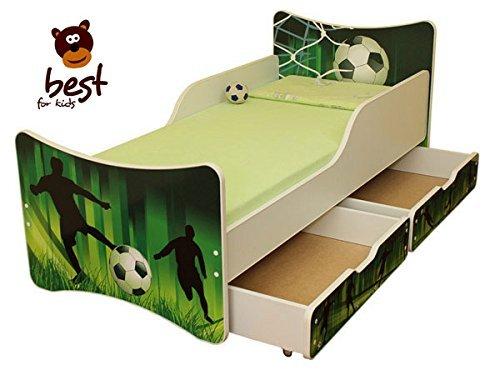 Best For Kids Kinderbett mit Schaummatratze mit TÜV Zertifiziert 90x200 MIT Zwei SCHUBLADEN 25 Designs (**Kinder**, Fußball)
