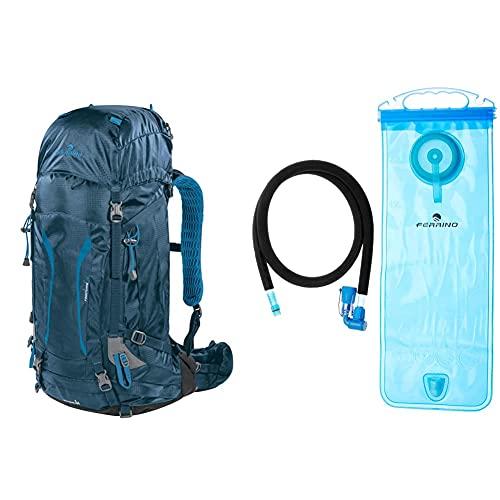 Ferrino Finisterre 38, Zaino Trekking Unisex, Blu, 38 Litri, 67 X 40 X 32 Cm & H2 Bag, Borsa Di Idratazione Unisex, Blu, 2 Litri