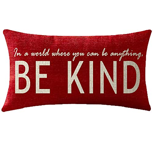 NIDITW Birthday Gift to Sister in A World Where You Can Be Anything Be Kind Lumbar Body Red Cotton Burlap Linen Cushion Cover Pillow Case Cover Chair Couch Decorative Oblong Long 12x20 Inches