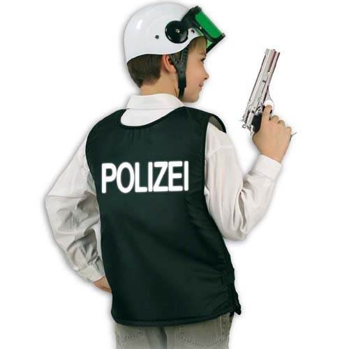 PARTY DISCOUNT KGU100617 Kinder-Weste Polizei schwarz, Gr. 140