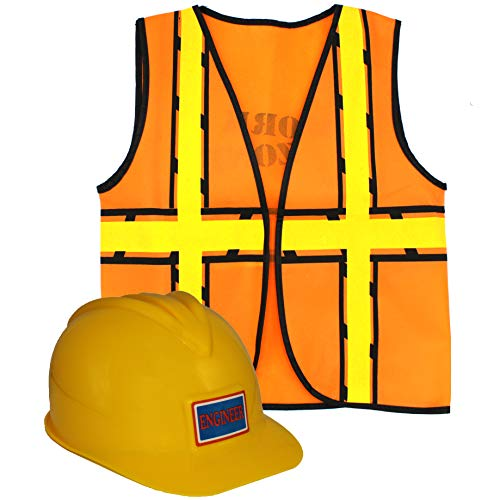 Mamvio Construction Worker Costume - Hard-Hat and Vest Dress-Up Role Play for Kids Yellow