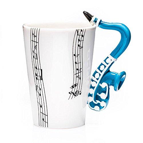 Mok witte mok met muziek scores saxofoon handvat keramiek