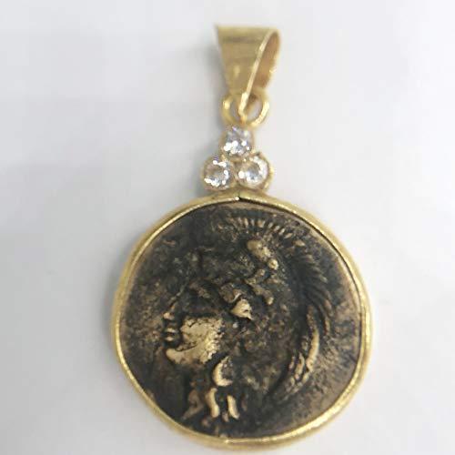 izmirjewelry Handmade Roman Coin Pendant with Zircon 24K Gold Over 925K Sterling Silver