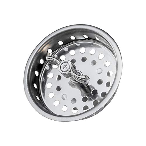 Highcraft 97633 Kitchen Sink Spin and Seal Basket Strainer Replacement for Standard Drains (3-1/2 Inch) Chrome Plated Stainless Steel Body With Threaded Stopper