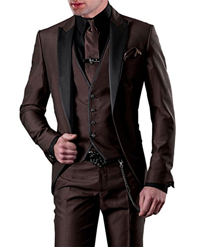 GEORGE BRIDE Herren Anzug 5-Teilig Anzug Sakko,Weste,Anzug Hose,Krawatte,Tasche Platz 002 (M, Schokolade)