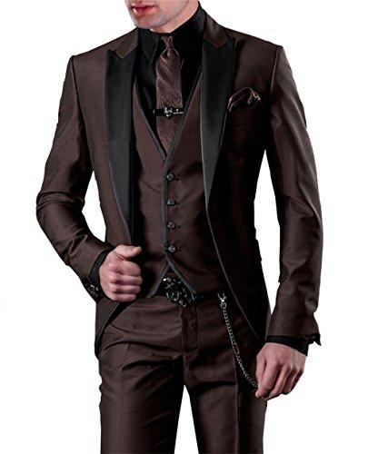 GEORGE BRIDE Herren Anzug 5-Teilig Anzug Sakko,Weste,Anzug Hose,Krawatte,Tasche Platz 002 (L, Schokolade)
