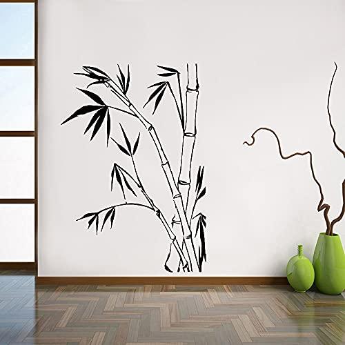 Pegatinas de pared de bambú decoración del hogar sala de estar plantas verdes naturales vinilo pegatinas de pared de oficina Mural decorativo A5 42x29 cm
