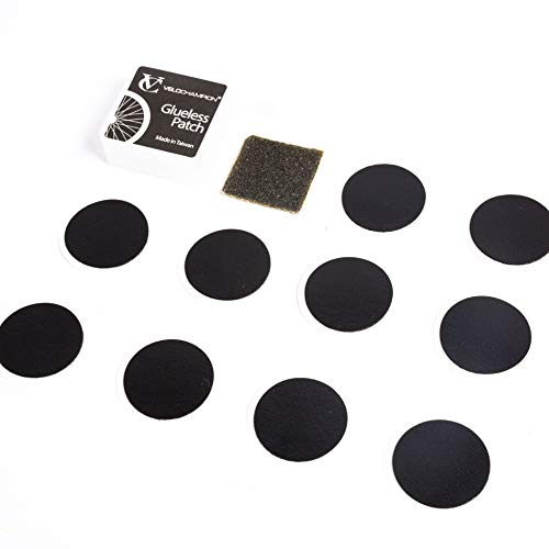 VeloChampion - Kit de parches autoadhesivos para reparación de pinchazos de rueda de bicicleta, sin pegamento, Negro, pack con 10 unidades
