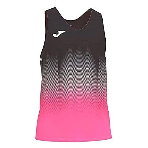 Joma Elite VII Camiseta Running sin Mangas, Hombre, Negro-Rosa, M
