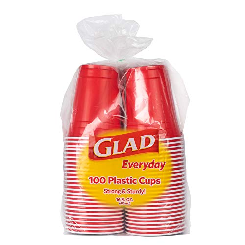 Glad Everyday Disposable Plastic Cups Red Plastic Cups, 100 Count Strong and Sturdy Red...
