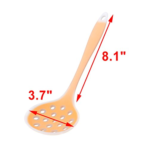 uxcell Silicone Home Dumpling Potato Chips Skimmer Perforated Ladle Scoop Orange