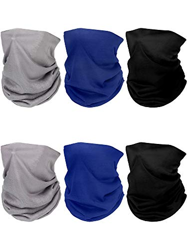 6 Pieces Summer Lightweight Neck Gaiter Sun Protection Face Covers Breathable Face Masks for Outdoor Activities (Grey, Dark Blue, Black)