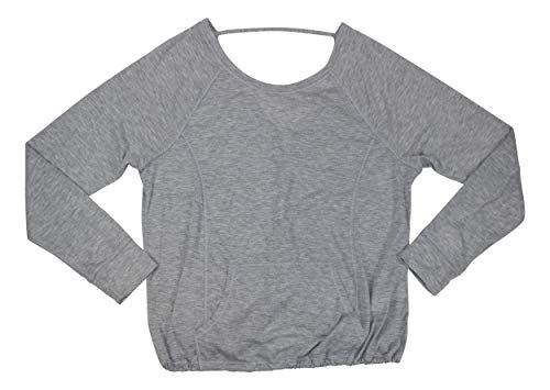 Calvin Klein V-Back Drawstring Hem Long Sleeve Kangaroo Pocket T-Shirt (Pearl Grey Heather, Medium)