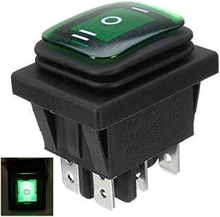 Interruptor basculante 16 A 250 V, 3 posiciones, 6 pines, impermeable, con luz de lámpara, color verde