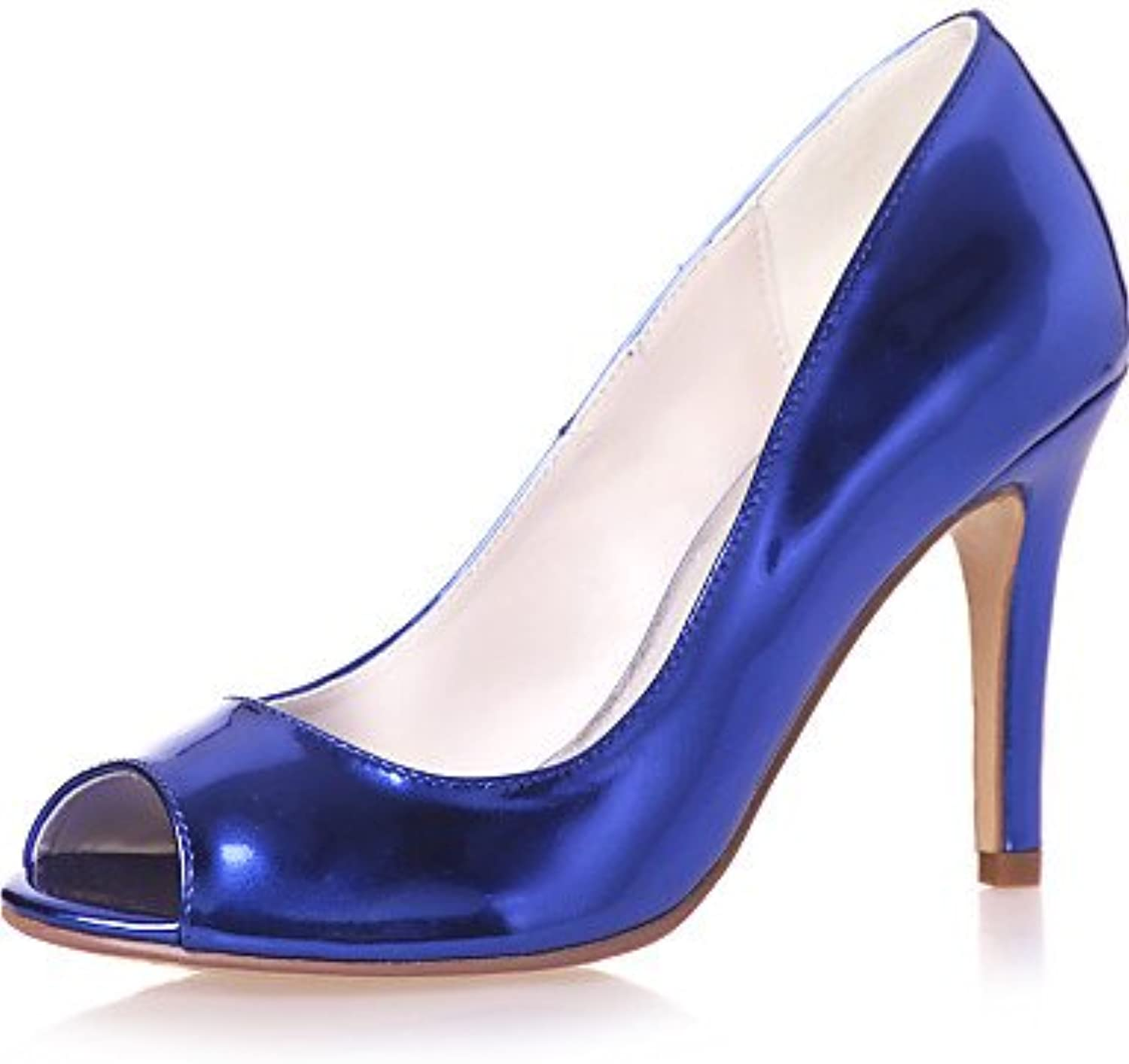 MEIREN Women's shoes Patent Leather Stiletto Heel Peep Toe Sandals Wedding Party & Evening Casual Black bluee Silver gold