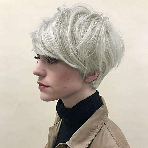 Sexy Lady Charmant Human Hair Pruiken Natural Fluffy Short Sliver witte golvende haar pruik Daily Dress for Women