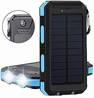 External Battery Pack Solar Charger Power Bank 20000mAh Waterproof Portable Backup Outdoor Cell Phone Battery Charger with 2 LED lights,1 charging port,2 USB ports, Use for all out door actives.
