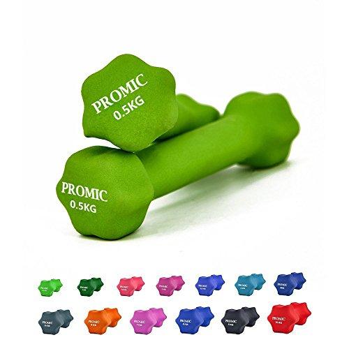 Rivestimento promic Barbell Neoprene da fitness manubri Aerobic pesi da allenamento per impugnatura anti-scivolo fissato, Set da 2, verde, 2 x 0.5 kg