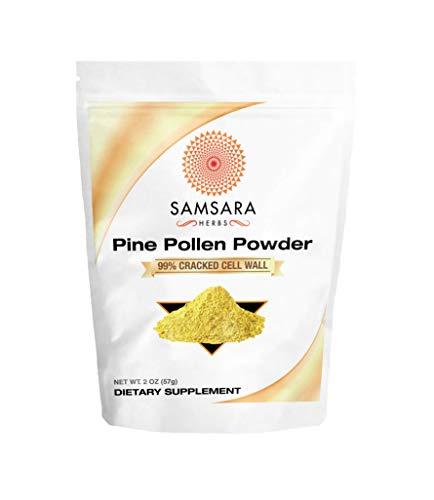Samsara Herbs Pine Pollen Powder Wild Harvested - 99% Cracked Cell Wall (2oz/57g)
