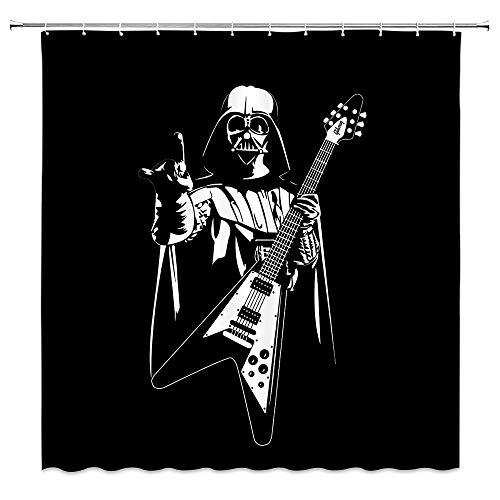 AdaCrazy Star Wars Duschvorhang Krieger Darth Vader spielt Heavy Metal Musik Dekoration schwarzer Stoff Badvorhänge Moderne Badvorhänge 71x71 Zoll Polyestergewebe
