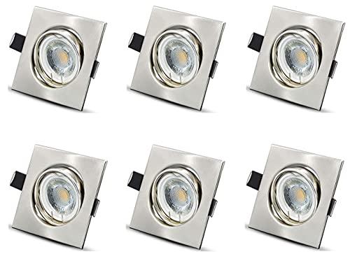 6er Set LED Einbaustrahler Flach 230V Dimmbar 6W Warmweiß 500lm LED Spots Schwenkbar LED Einbauleuchten f. Loch Ø68mm für Wohnzimmer, Schlafzimmer, Küche, Büro