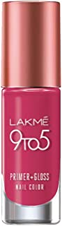 Lakme 9 to 5 Primer + Gloss Nail Colour, Magenta Mix, 6 ml