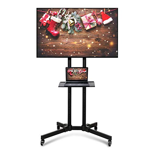 Yaheetech Supporto Carrello TV da 32 a 65 Pollici da Pavimento con Ruote Staffa Mobile Porta TV Schermi LCD LED Portata 50 kg Altezza Regolabile Nero