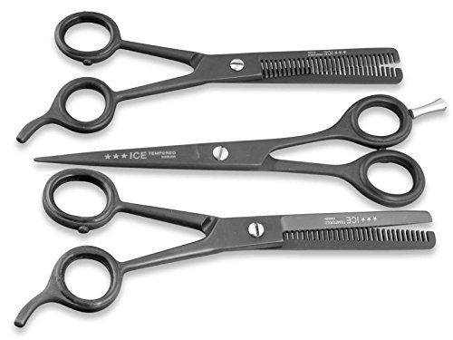 Profi Friseurschere Haarschere Set Effilierschere Modellierschere 5.5 Zoll 13,97 cm mit Pulverbeschichtung in Schwarz
