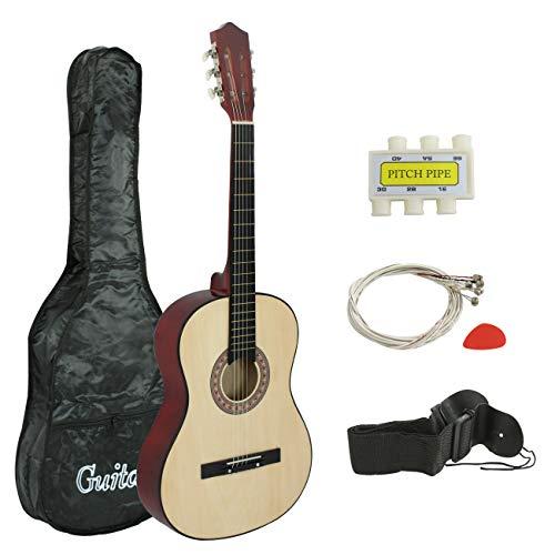 """Smartxchoices 38"""" Kids Natural Acoustic Guitar Bundle Kit"""