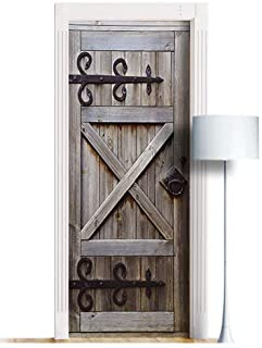 ONE Piece Sticker for Door/Wall/Fridge - Country Barn Door. Peel & Stick Removable Mural, Decole, Skin, Wrap, Decal, Cover...