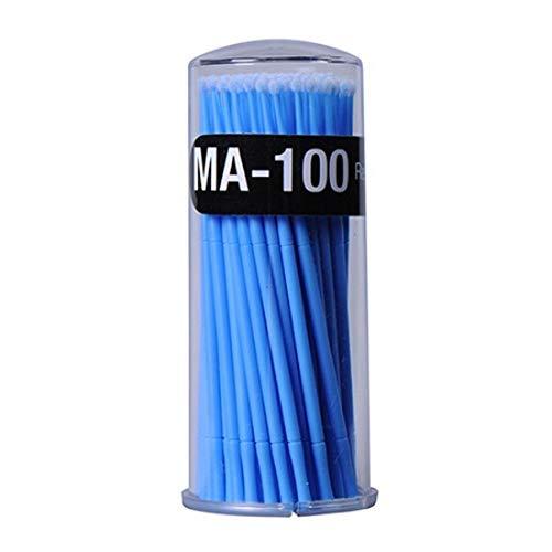 HELLOO HOME Micro Brosses Applicateur, Micro Brosse Applicateur Jetable, Cotons-tiges avec Manche en Plastique, Brosses D'extension De Cils, pour Maquillage, Oral Et Dentaire - 100 Pcs/Bleu