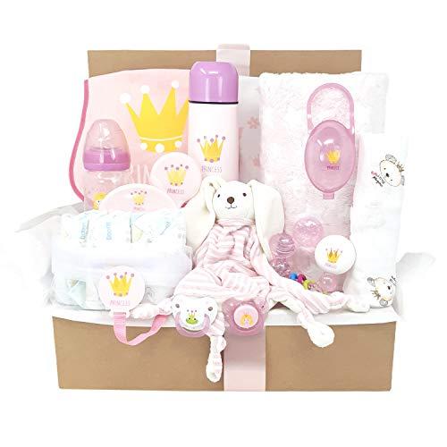 Baby King, MabyBox de Mababy,Set regalo bebé que incluye manta, sonajero, chupetes, biberón termo y mucho más… (Princesa)