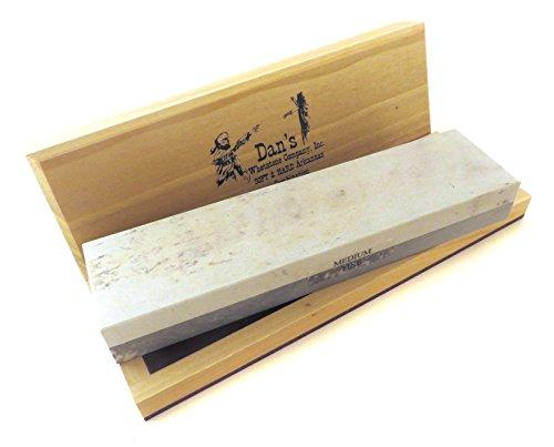 "Genuine Arkansas Combination Soft (Medium) and Hard (Fine) Knife Sharpening Bench Stone Whetstone 8"" x 2"" x 1"" in Wood Box MFC-8-C"