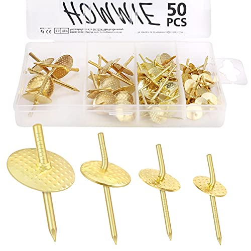 Hommie 50PCS Picture Hangers with Different Sizes,Iron Alloy Nail Hooks Photo...