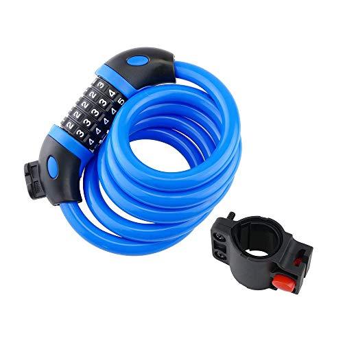 Cablematic - Cable antirrobo de acero con candado para bicicleta 12x1200mm combinación